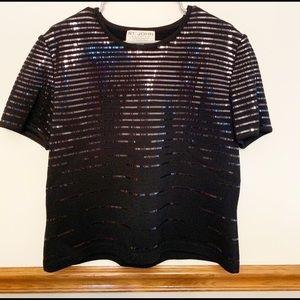 St. John Evening by Marie Gray Black Sequin Shirt